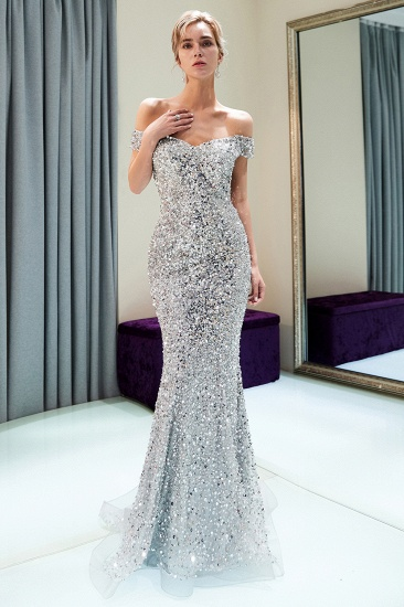 Affrodable Mermaid Off-the-shoulder Prom Dresses Long Sequins Silver Evening Gowns Online_5