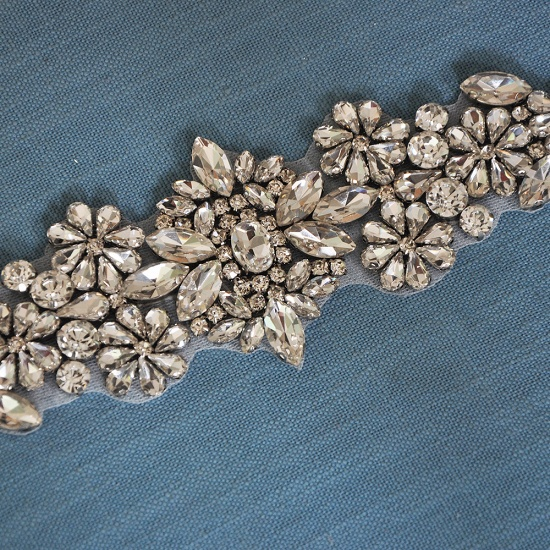 BMbridal Satin Flowers Pattern Wedding Sash with Pearls_18