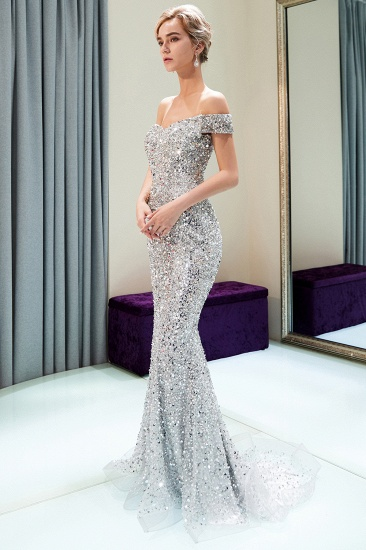 BMbridal Affrodable Mermaid Off-the-shoulder Prom Dresses Long Sequins Silver Evening Gowns Online_4