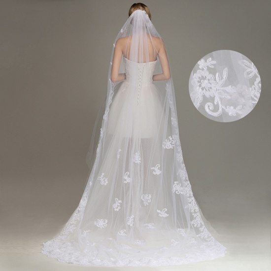 One Layer Wedding Veil with Comb Lace Edge Appliqued Bridal Veil_7