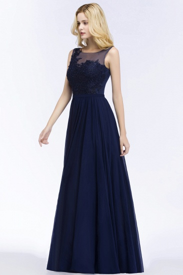 Chiffon Lace Appliques Affordable Navy Bridesmaid Dress Online_4