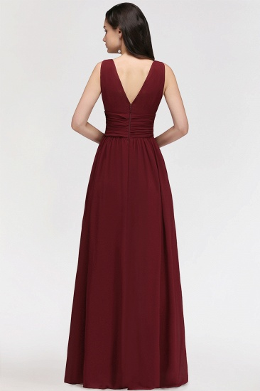 BMbridal Burgundy Long V-Neck Sleeveless Chiffon Bridesmaid Dress Online_3