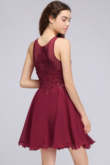 BMbridal Lovely Lace Short Burgundy Bridesmaid Dress with Appliques_3