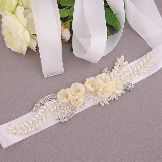 BMbridal Handmade Flower Pearl Wedding Sash with Beadings_1