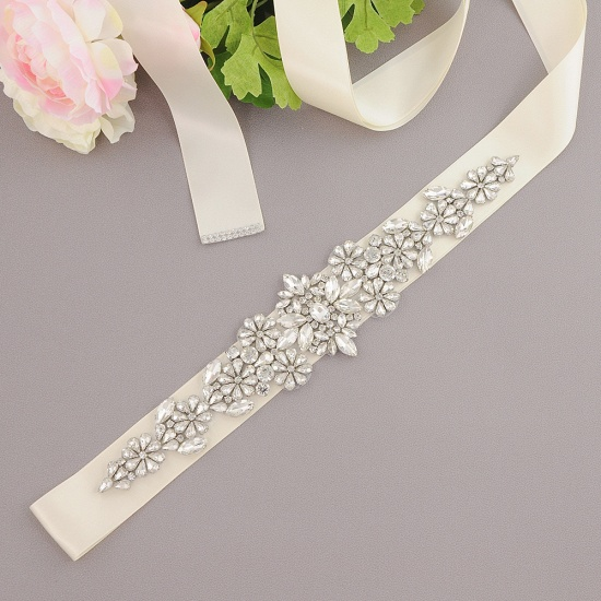 BMbridal Satin Flowers Pattern Wedding Sash with Pearls_2
