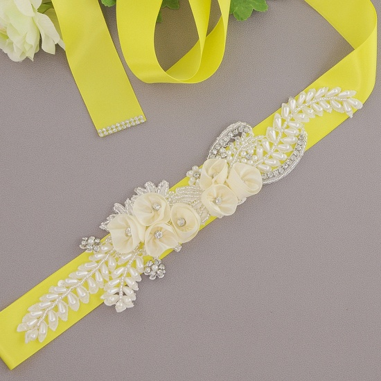 BMbridal Handmade Flower Pearl Wedding Sash with Beadings_7