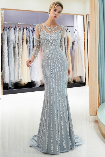 Gorgeous Mermaid Jewel Long Prom Dresses Long Sleeves Evening Dresses with Rhinestones_6