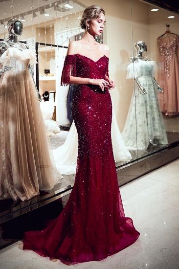 BMbridal Elegant Mermaid Off-the-shoulder Prom Dresses V-neck Sequins Long Evening Dresses_6