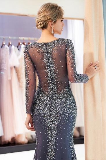 BMbridal Afordable Mermaid V-Neck Long Sleeves Prom Dresses Sparkly Beading Evening Dresses On Sale_9