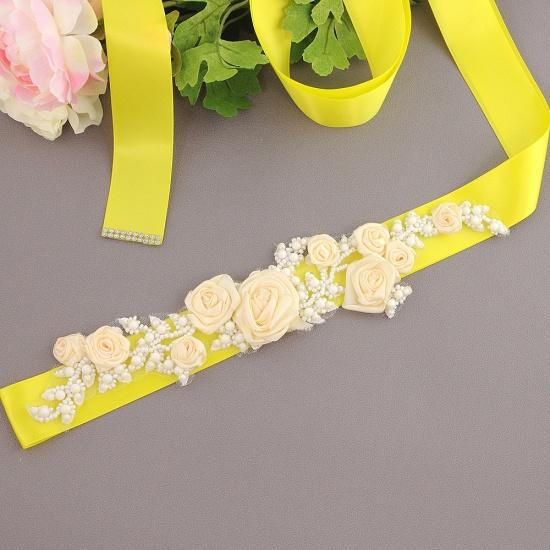 Elegant Satin Flowers Wedding Sash with Beadings_8