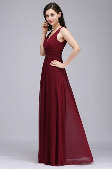 Modest Burgundy V-Neck Sleeveless Long Bridesmaid Dresses Cheap_4