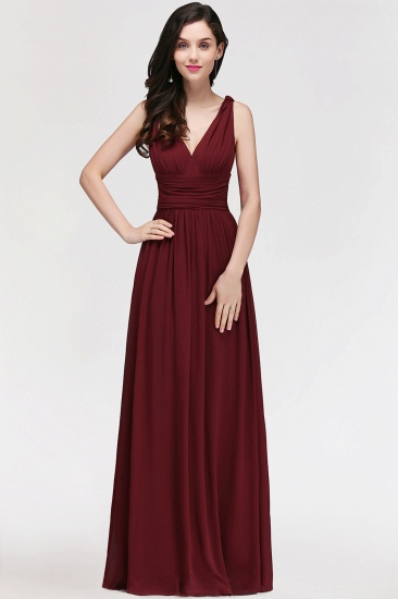 BMbridal Burgundy Long V-Neck Sleeveless Chiffon Bridesmaid Dress Online_2