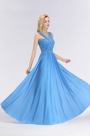 Chic Crisscross Ocean Blue Junior Bridesmaid Dresses Affordable Chiffon Ruffle Maid of Honor Dresses_6