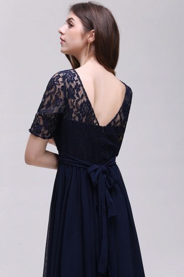 Affordable Lace Scoop Dark Navy Bridesmaid Dresses with Half-Sleeves_6