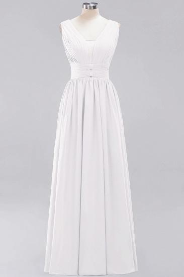 Modest Dark Green Long Bridesmaid Dress Deep V-Neck Chiffon Maid of Honor Dress_1