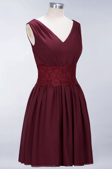 Pretty V-Neck Short Sleeveless Lace Bridesmaid Dresses Online_59
