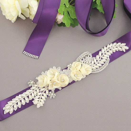 BMbridal Handmade Flower Pearl Wedding Sash with Beadings_8