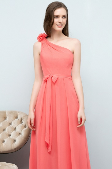 Chic One Shoulder Flower Long Bridesmaid Dresses with Bow Sash_6