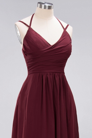 BMbridal Affordable Chiffon Burgundy Bridesmaid Dress With Spaghetti Straps_60
