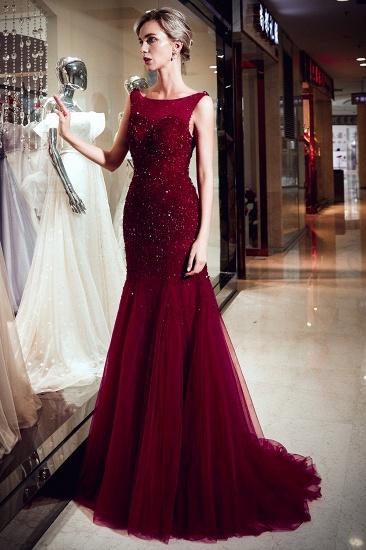 BMbridal Gorgeous Mermaid Sleeveless Prom Dresses Sequined Tulle Burgundy Formal Dresses Online_6