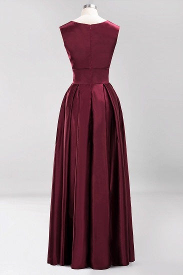 Vintage Deep-V-Neck Long Burgundy Bridesmaid Dress Online_5