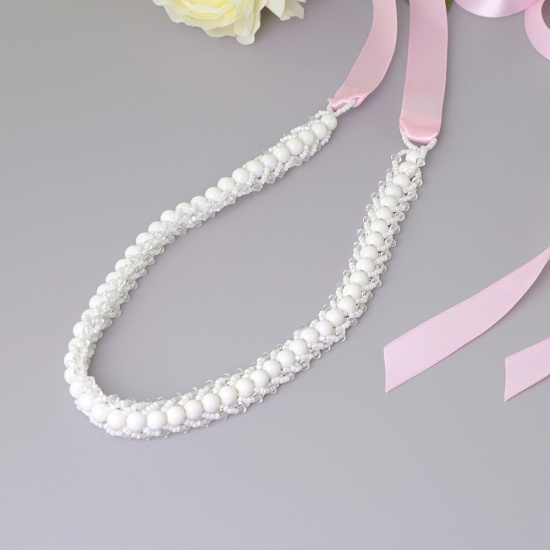 BMbridal Satin Beadings Wedding Sash with Pearls_3