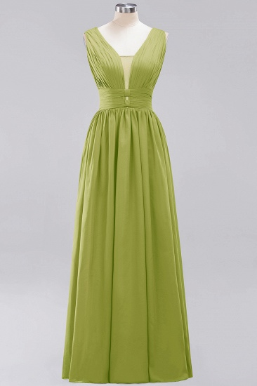 Modest Dark Green Long Bridesmaid Dress Deep V-Neck Chiffon Maid of Honor Dress_34