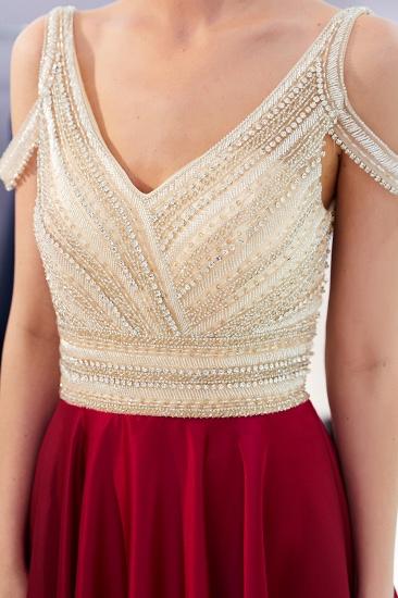 BMbridal Elegant V-neck Sleeveless Burgundy Prom Dresses A-line Crystal Beading Evening Dresses On Sale_9