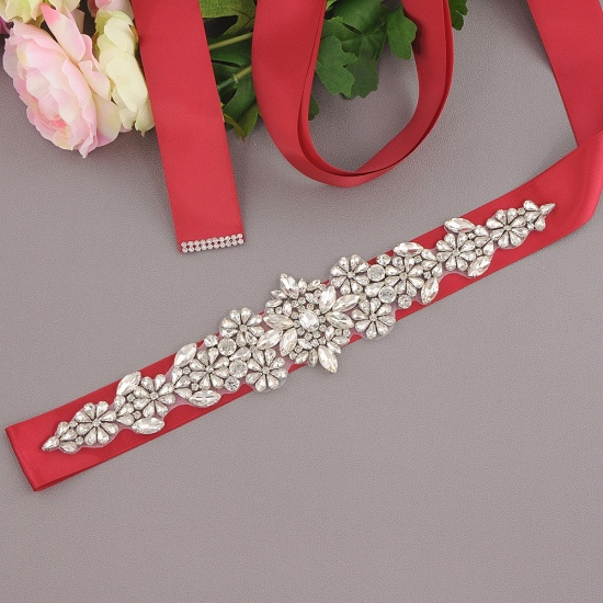 BMbridal Satin Flowers Pattern Wedding Sash with Pearls_5