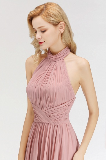 Gorgeous High-Neck Halter Backless Bridesmaid Dress Dusty Rose Chiffon Maid of Honor Dress_7