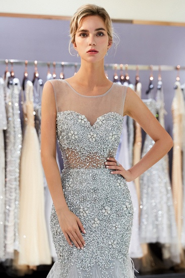 BMbridal Chic Mermaid Sleeveless Prom Dresses Illusion Neckline Crystal Sqeuined Tulle Evening Dresses_7