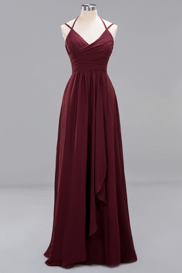 BMbridal Elegant Spaghetti Straps Long Bridesmaid Dress Lace V-Neck Maid of Honor Dress_63