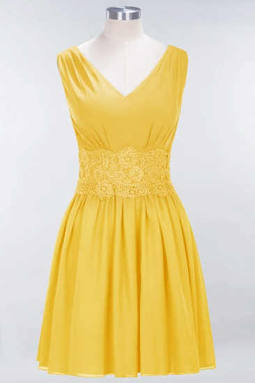 Pretty V-Neck Short Sleeveless Lace Bridesmaid Dresses Online_17
