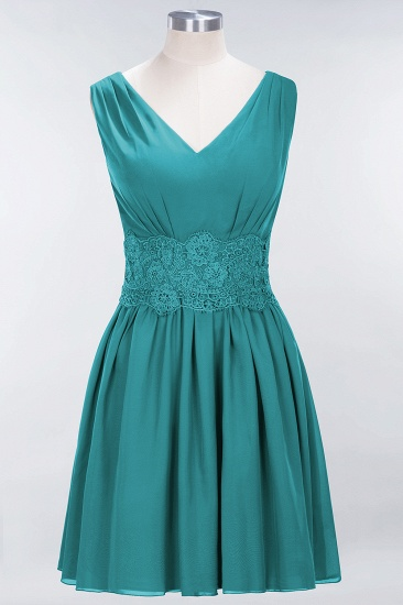 Pretty V-Neck Short Sleeveless Lace Bridesmaid Dresses Online_32