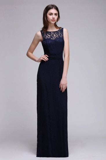 BMbridal Chic Sleeveless Scoop Lace Bridesmaid Dress with Keyhole Back_1