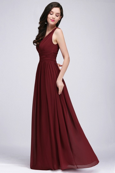 BMbridal Burgundy Long V-Neck Sleeveless Chiffon Bridesmaid Dress Online_5