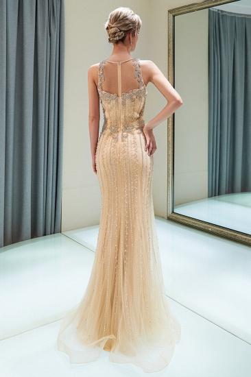 GOrgeous Jewel Gold Mermaid Prom Dresses Sleeveless Evening Dresses with Rhinestones_3