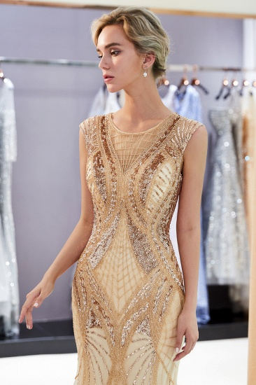 BMbridal Affordable Mermaid Sleeveless Golden Sequins Beading Formal Party Dresses_6