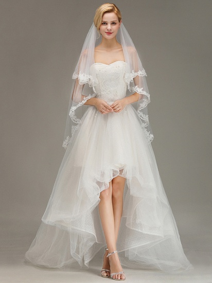 BMbridal Two Layers Lace Edge Wedding Veil with Comb Soft Tulle Bridal Veil_2