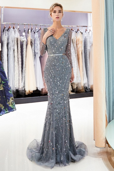 BMbridal Chic Mermaid Long Sleeves Prom Dresses V-neck Sequins Evening Gowns with Sash_7