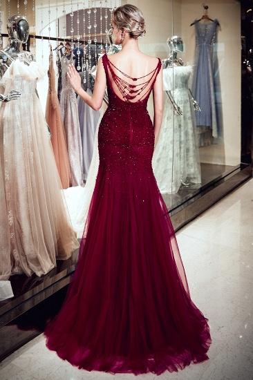 BMbridal Gorgeous Mermaid Sleeveless Prom Dresses Sequined Tulle Burgundy Formal Dresses Online_3