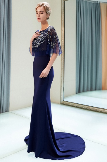 BMbridal Gorgeous Mermaid Jewel Long Prom Dresses Navy Beading Formal Dresses with Crystals_4