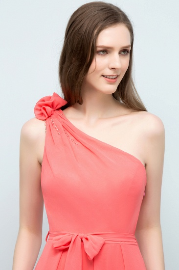 Chic One Shoulder Flower Long Bridesmaid Dresses with Bow Sash_7