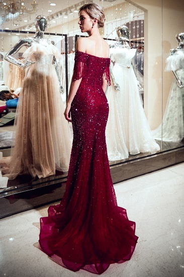 BMbridal Elegant Mermaid Off-the-shoulder Prom Dresses V-neck Sequins Long Evening Dresses_4