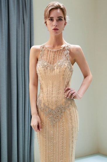 GOrgeous Jewel Gold Mermaid Prom Dresses Sleeveless Evening Dresses with Rhinestones_5