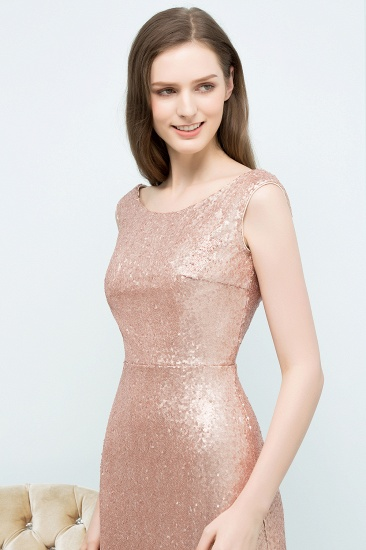 BMbridal Shiny Sequined Scoop Sleeveless Champagne Bridesmaid Dress Online_4