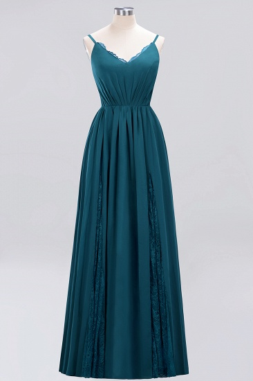 Elegant Spaghetti Straps Long Bridesmaid Dress Lace V-Neck Maid of Honor Dress_27