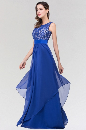 Elegant Lace Jewel Long Chiffon Bridesmaid Dress with Asymmetric Hemline_5