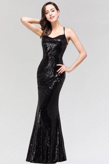Elegant Mermaid Sequined Long Black Bridesmaid Dress with Spaghetti Straps_5