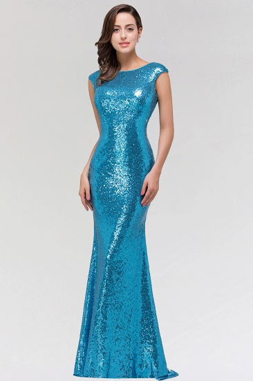 Shinny Sequined Long Mermaid Blue Affordable Bridesmaid Dress_1